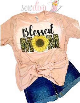 Custom Blessed Mom Sunflower Leopard Bleached  Shirt