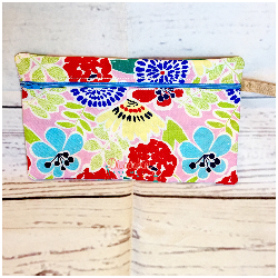Pink Flowered Zipper Pouch