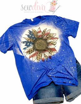 Custom Bleached Sunflower Flag Shirt