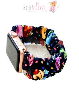Custom Snacks on Black Scrunchie Watch Band