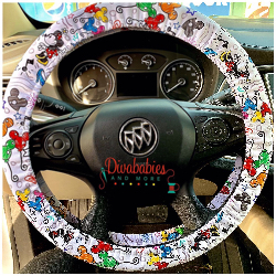 Custom White Dooney Inspired Steering Wheel Cover