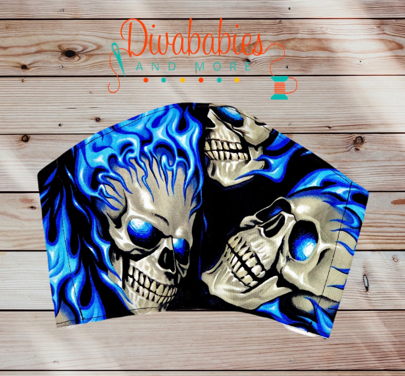 Custom Blue Flames Skull Face Mask