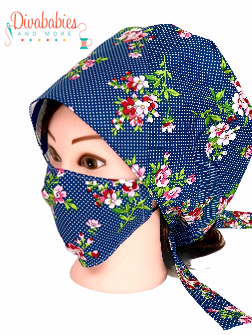 Custom Blue Floral Surgical Cap & Mask Set