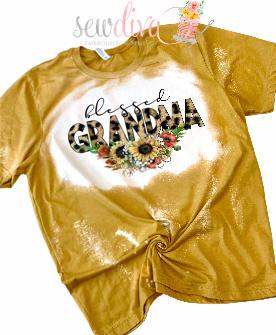 Custom Blessed Grandma Bleached  Shirt