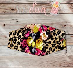 Custom Leopard Floral Face Mask