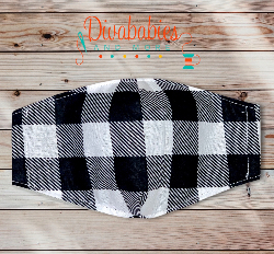 Custom White Plaid Christmas Face Mask