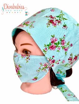 Custom Aqua Floral Surgical Cap & Mask Set