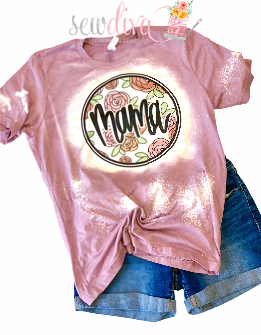 Custom Mama Floral Bleached  Shirt