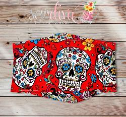 Custom Red Sugar Skulls 3-D Mask