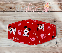 Custom I Woof You Valentines Face Mask