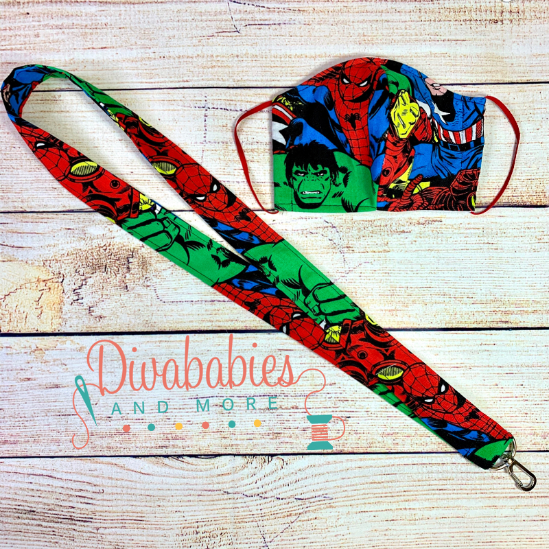 Custom Kids Super Hero Face Mask & Lanyard Set