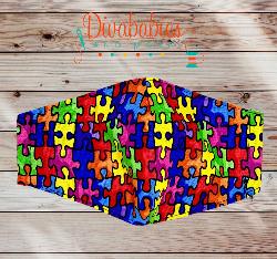 Custom Autism Puzzle Piece Face Mask