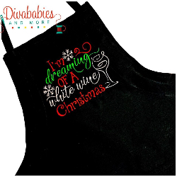 Custom Embroidered White Wine Christmas Apron