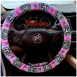 Custom Starbucks Princesses Inspired Steering Wheel Cover