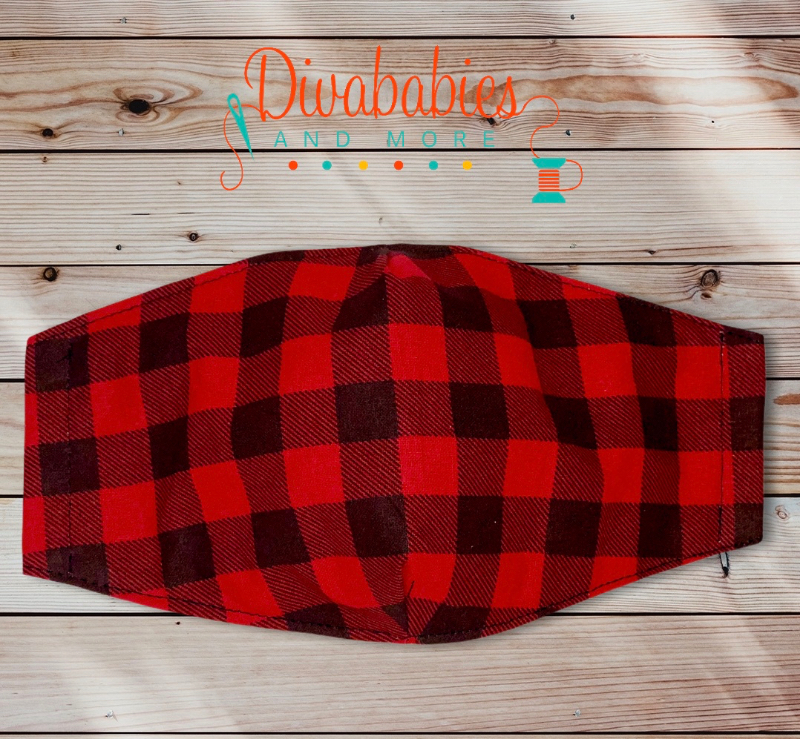 Custom Red Plaid Christmas Face Mask