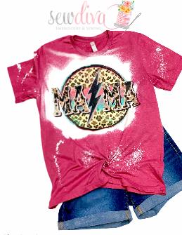 Custom Lightening Bolt Mama Bleached  Shirt