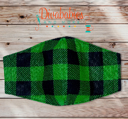 Custom Green Plaid Christmas Face Mask