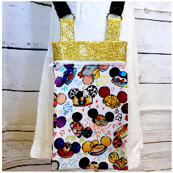 Disney Hats Cross Body Bags- Gold Glitter