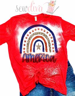 Custom Bleached America Sparkle Shirt