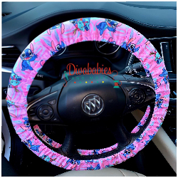 Custom Pink Stitch Inspired Steering Wheel Cover