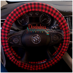 Custom Buffalo Plaid Steering Wheel Cover