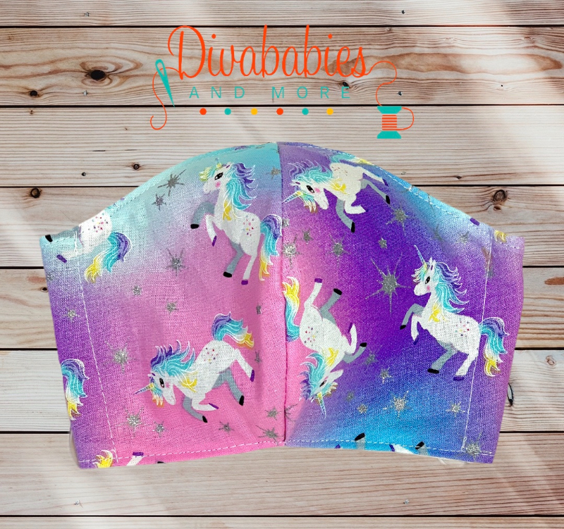 Custom Sleepy Rainbow Tie Dye Unicorn Face Mask