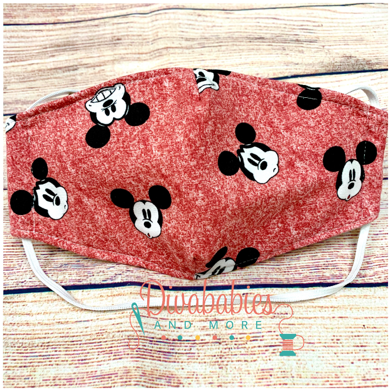 Custom Sewn Red Mr Mouse Face Mask