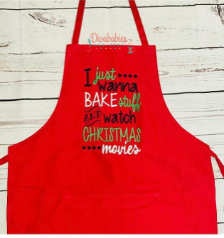Custom Embroidered I Just Wanna Bake Christmas Apron