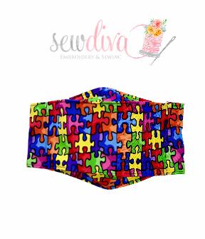 Custom 3-D Autism Puzzle Piece Mask