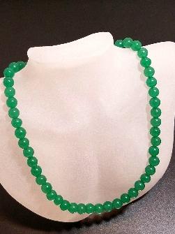 "Cindy's Dream of Green Aventurine 17"" Beaded Necklace with a 925 Sterling Silver Lobster Claw Clasp"