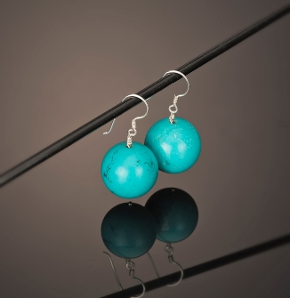 Round Turquoise Earrings 925 Sterling Silver