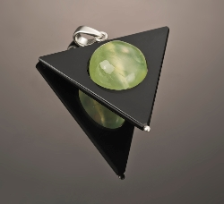 Store wode SALE  Price adjusted Heavy Metal Loc-Nar Pendant, Black Onyx & Prehnite 925 Sterling