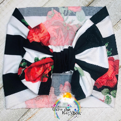 Black & White Stripped Floral Head Band