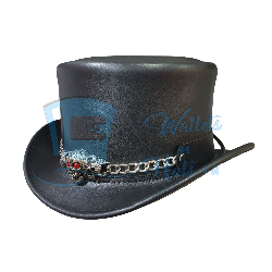 El Dorado Red Eye Skull Leather Top Hat