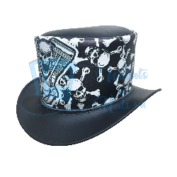 Engine Skull Leather Top Hat