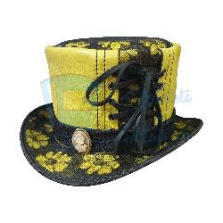 Havisham Black Crusty Band Leather Top Hat