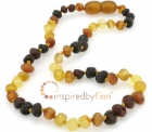 Baltic Amber Necklace - Kids Unpolished Multi - He