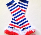Ruffled Red, White & Blue Leg Warmers