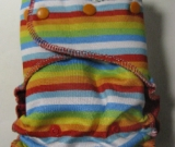 Rainbow Stripe /w red cotton velour - serged multi-size