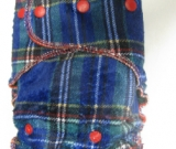 Blue Plaid Minky /w green cotton velour - serged Sleepytime