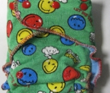 Smiley World /w blue organic bamboo velour - serged multi-size