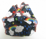 Poly-knit Rainbow Monsters /w blue organic bamboo velour - newborn