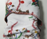 Christmas Tree Puppies /w brown cotton velour - serged multi-size