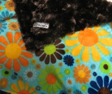 Chocolate /w Turquoise Flower Child Minky - B�b� (Minky) - Regular $45