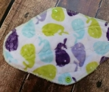 9 Inch Lime Whales Minky Cloth Pad Regular