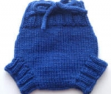 Small Blue Hand Knit Wool Soaker, Diaper Cover and Photography Prop