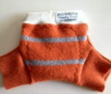 Sale - Small Orange Striped Recycled Wool Soakers