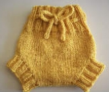 Small Yellow Hand Knit Wool Soaker, Diaper Cover and Photography Prop
