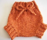 Small Orange Hand Knit Wool Soaker, Diaper Cover and Photography Prop