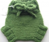 Small Green Hand Knit Wool Soaker, Diaper Cover and Photography Prop